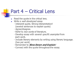 thursday noon english regents ppt  part 4 critical lens the quote in the critical lens
