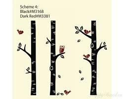 3 birch trees with birds and owl