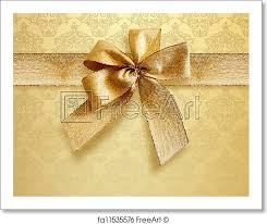 Gold Damask Background Free Art Print Of Damask Background With Gold Bow