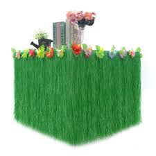 leegoal hawaiian style grass table skirt accessory with artificial flowers decoration for birthday party carnival festival