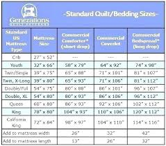 Bedspread Sizes Chart Throw Blanket Size Chart Ccamu Co