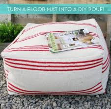 How To: Make a DIY Pouf Ottoman from an Inexpensive Floor Mat