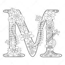 52 free alphabet coloring pages. Letter M Coloring Book For Adults Vector Stock Vector 109429554 Printable Coloring Pages Coloring Pages Mandala Coloring Pages