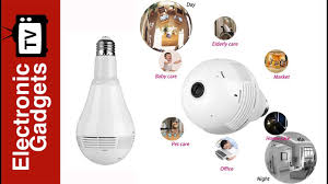 Led Light Bulb Security Camera With 360 Degree Fisheye Motion