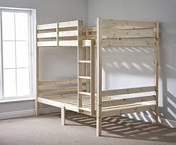 Double bunk beds in our new basement bunk room. Fun for sleepovers and  great for