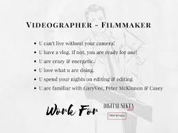 Digital Editor Job Description VIDEO EDITOR FILMMAKER JOB DESCRIPTION DIGITALSEKTA 23