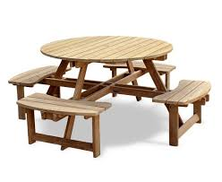 teak round picnic bench 2m pub garden patio outdoor park table 8 seater