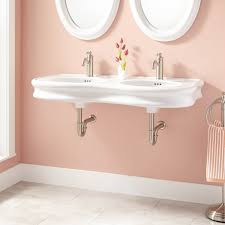 46 adler double bowl wall mount bathroom sink