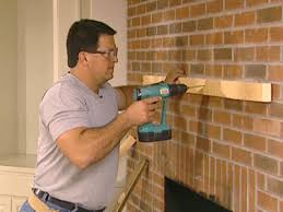 position mantel brace on line at center and attach