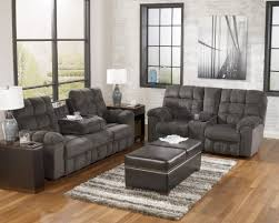 Reclining Living Room Sets Acieona Slate Reclining Sofa With Drop Down Table From Ashley