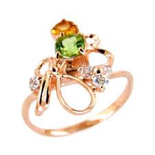 Купить золотое <b>кольцо с хризолитом</b>, <b>цитрином</b> и фианитами ...