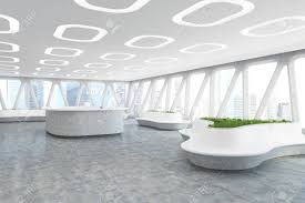 office ceiling lamps. Spaceship Style Office Interior With Oval Ceiling Lamps, Concrete Floor And Panoramic Windows Triangular Lamps I