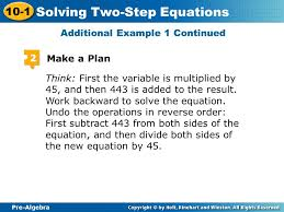 pre algebra 10 1 solving two step equations think first the variable