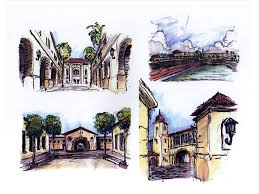 Sketch Details of School Campus Architectural Design Study