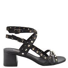 ash iman block heel sandals black leather