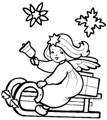 little christmas angel on a sleigh coloring pages   angel coloring    little christmas angel on a sleigh coloring pages