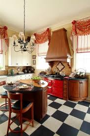 French Kitchen Designs Unique Very Pretty Casual Swags With Bells Rosettes Tie In The Red Stove
