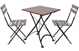 19th century reion french bistro cafe folding chairs and small square table