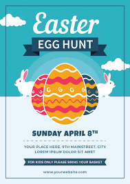 Easter Egg Hunt Flyer With Eggs And Rabbits Vector Premium Download