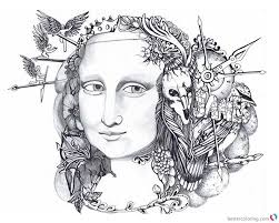 Mona Lisa Coloring Pages Doodle Art Free Printable Coloring Pages