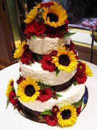 Sunflower Wedding Cake For Sunflower Wedding With Accents Of Red