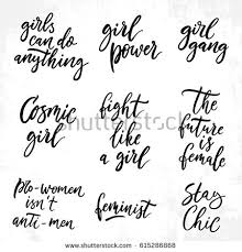 Feminist Quotes Best Feminist Quotes Set Woman Motivational Signs Stock Vector Royalty