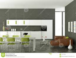 White Modern Kitchen With Dining Table And Brown Leather Sofa Stock