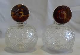 pair tortoiseshell pique silver and cut glass spherical perfume bottles