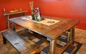 reclaimed wood diy trestle farmhouse table with double bench seat and burlap table runner for small rustic dining room spaces ideas