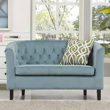 contemporary modern chesterfield tufted sea blue upholstered velvet loveseat