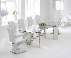 glass extending dining table and 6 chairs. mark harris millicent 160cm glass extending dining set with 6 hereford z white chairs table and s