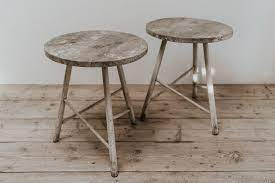 pair of quirky oak side tables