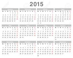 Annual Calendar 2015 Color Vector Illustration Of 2015 Year Annual Calendar Monday