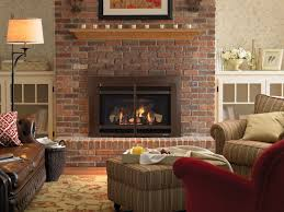 living room ideas with red brick fireplace