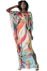 Artistic Colorful Floral Print Chiffon Beach Kaftan Smock Online Chiffon Beach Kaftan