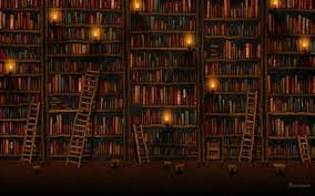 a puter wallpaper with books and library ladders