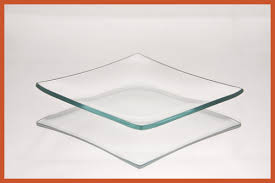 4 square clear bent glass plate 1 8