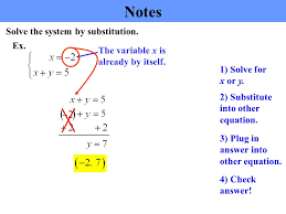 notes solving a system of equations by substitution 1