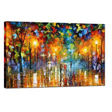 Oil Painting For Living Room 2017 Large Handpainted Lovers Rain Stree Tree Lamp Landscape Oil