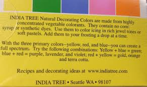 India Tree Food Coloring Chart Accidentally Vegan Natural Decorating Colors From India Tree