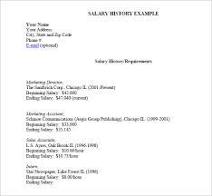 Salary History List Example