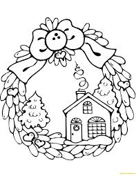 Christmas Wreath Coloring Page Wreath Coloring Page Christmas Wreath