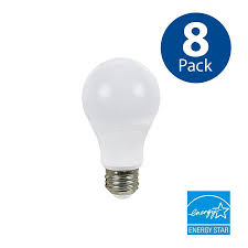 utilitech 8 pack 60 w equivalent dimmable daylight a19 led light fixture bulbs