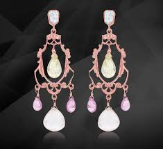 chandelier diamond earrings with faceted pink sapphire aquamarine rose quartz briolettes hand crafted in eighteen karat rose gold