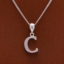 letter c plain 925 silver pendant with 16