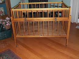 portacrib vintage wood port a crib or play pen folding for easy storage