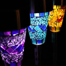 artistic outdoor lighting. artistic outdoor solar lighting with purple blue yellow crystals detail accent to illuminate beautiful exterior