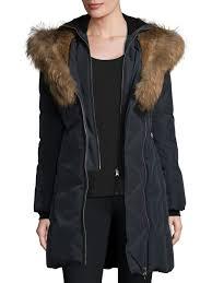 mackage trish fur trim hooded down coat ink women s coats quilted mackage sample