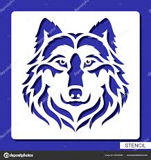 трафарет волк лицо логотип векторный силуэт головы хищника шаблон