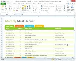 Monthly Planner Excel Monthly Planner Template Excel Monthly Meal Planner Template Excel
